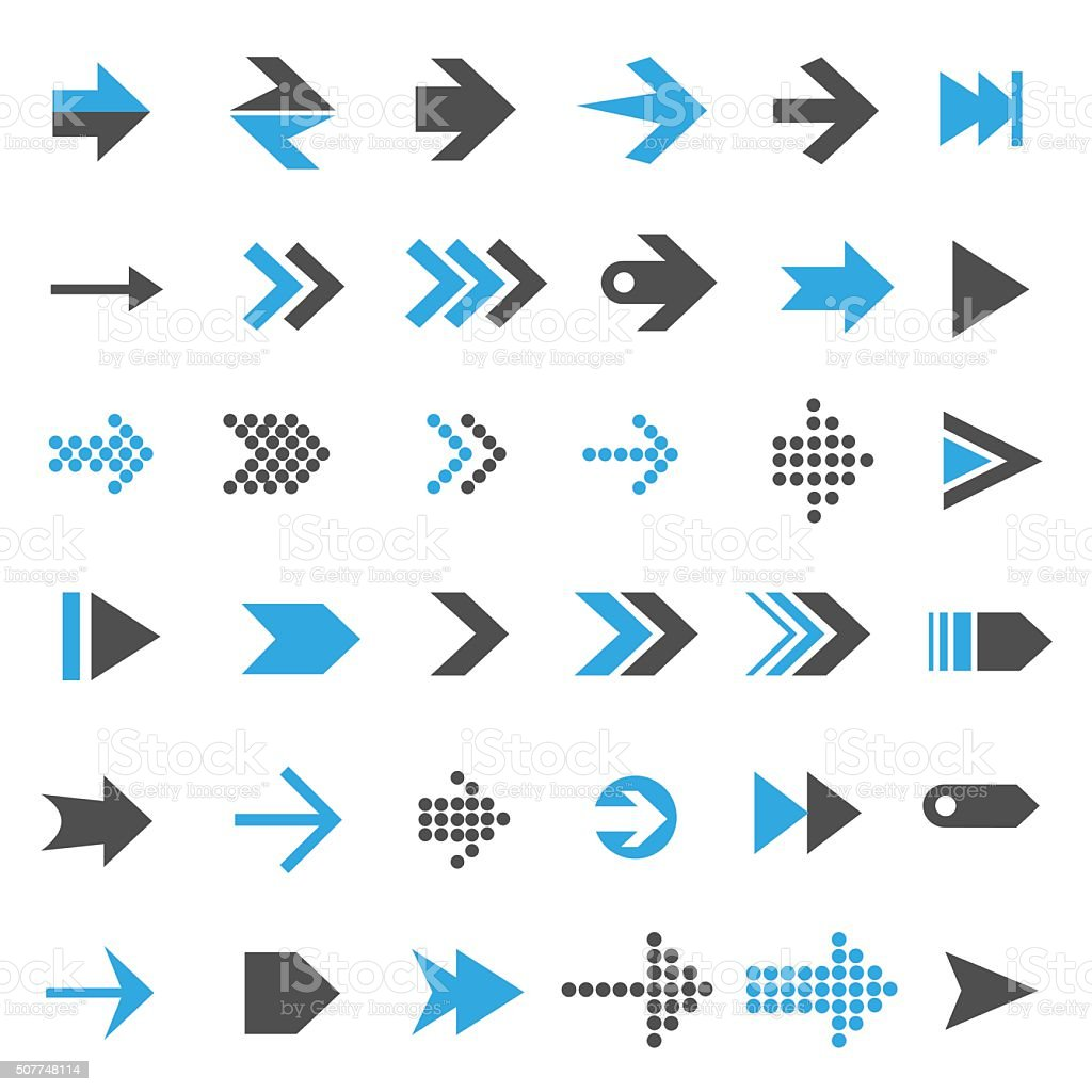 Arrow icon set向量藝術插圖