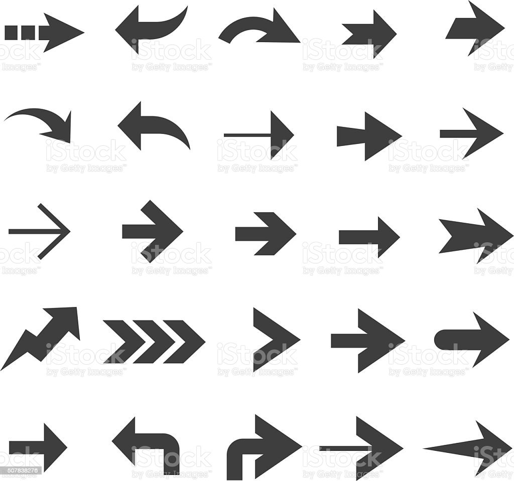 Arrow Icon Set Stock Vector Art & More Images Of Aiming