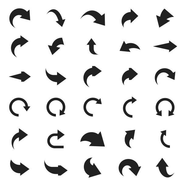 Arrow icon set Arrow icon set curve stock illustrations