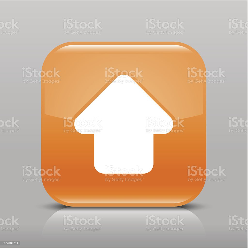 Arrow icon upload sign orange glossy square button royalty-free stock vector art