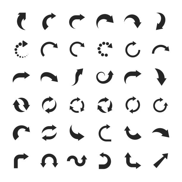 Arrow Icons. For Mobile and Web. Set of design elements. curve stock illustrations