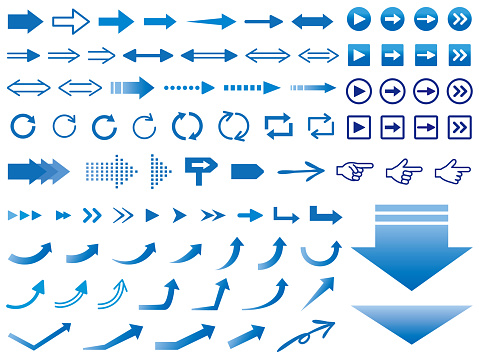 Arrow icons of various designs, blue