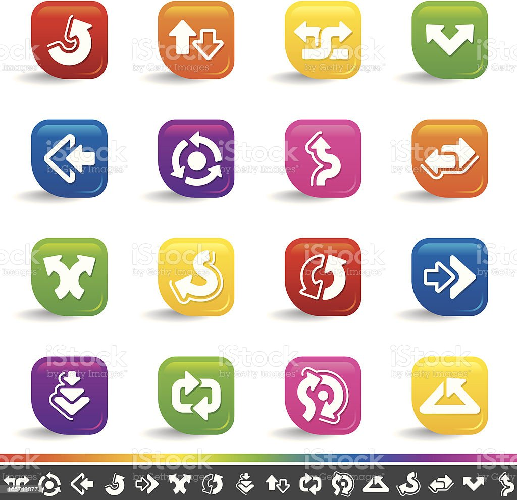 Arrow icons | Rainbow Series royalty-free arrow icons rainbow series stock vector art & more images of abstract