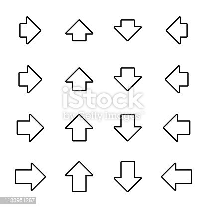 Arrow icons set for web, print, infographics, etc. White fill, black border, rounded corners, wide, short. Stroke with can be changed.