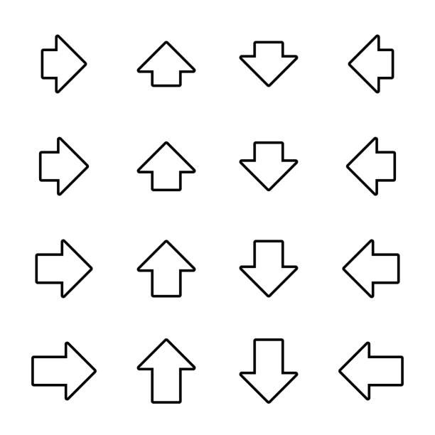pfeilsymbole für web, print, infografik, etc. weiße füllung, schwarzer rand, abgerundete ecken, breit, kurz. schlaganfall kann gewechselt werden. - breit stock-grafiken, -clipart, -cartoons und -symbole