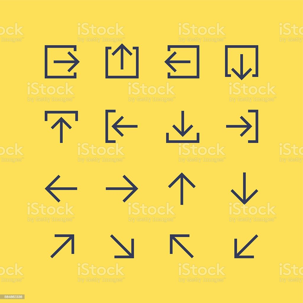Arrow icons set vector art illustration