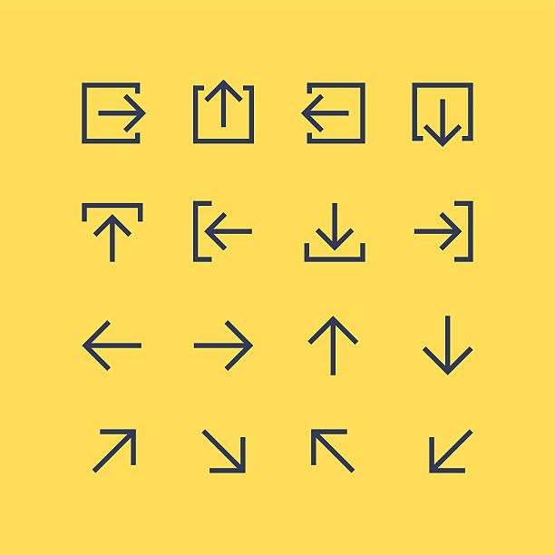 arrow icons set - wayfinding icons stock illustrations, clip art, cartoons, & icons