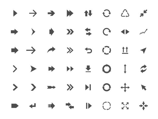 arrow icons set - arrows stock illustrations