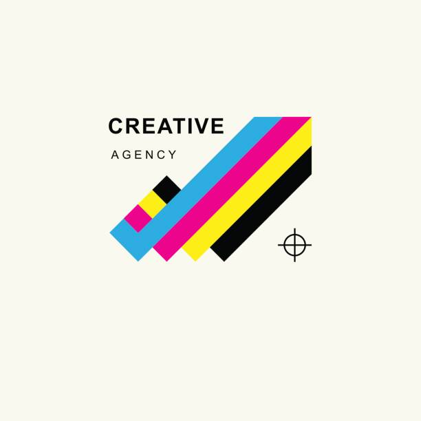 illustrazioni stock, clip art, cartoni animati e icone di tendenza di arrow in colors cmyk upward tending . trendy minimalistic template design for symbols, emblems, symbols, icon, - cmyk