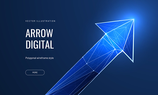 Arrow in futuristic digital polygonal style on blue background. Growth and development concept, banner for landing page. Vector illustration