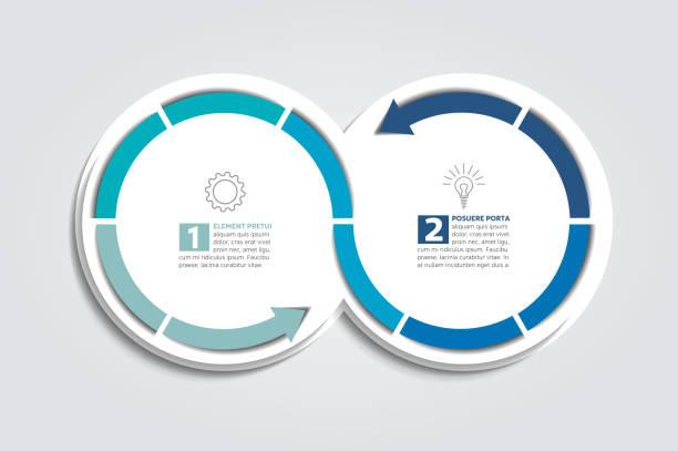 bildbanksillustrationer, clip art samt tecknat material och ikoner med pilen infographic cirkel diagram. - två objekt