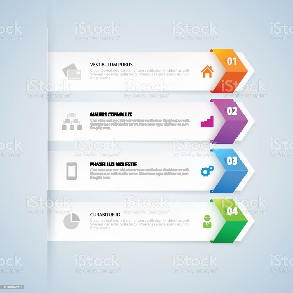 Arrow infographic template. Colorful numbered banners for diagram, graph – Vektorgrafik