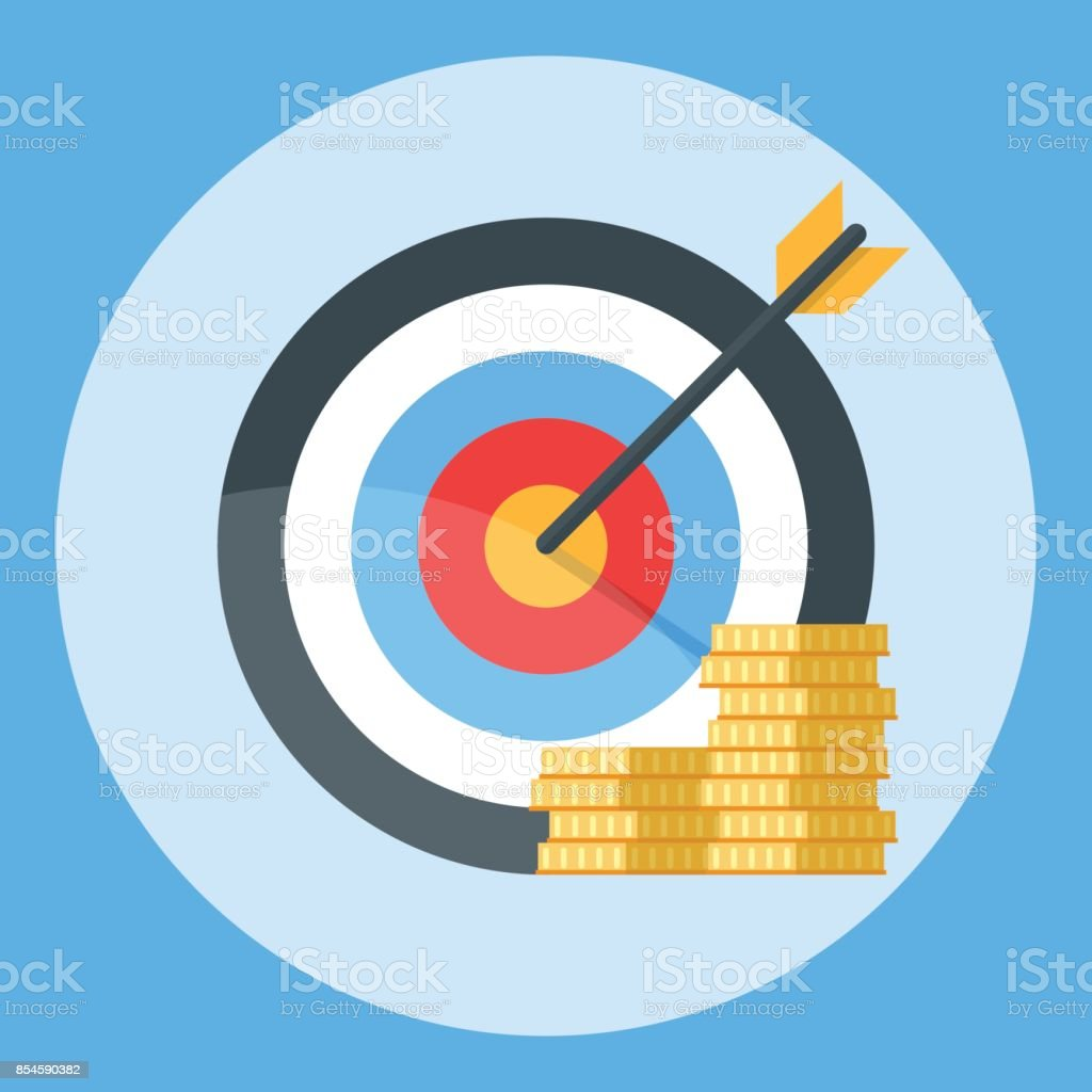Arrow is exactly at the target. A bunch of gold coins. Illustration isolated on a color background vector art illustration