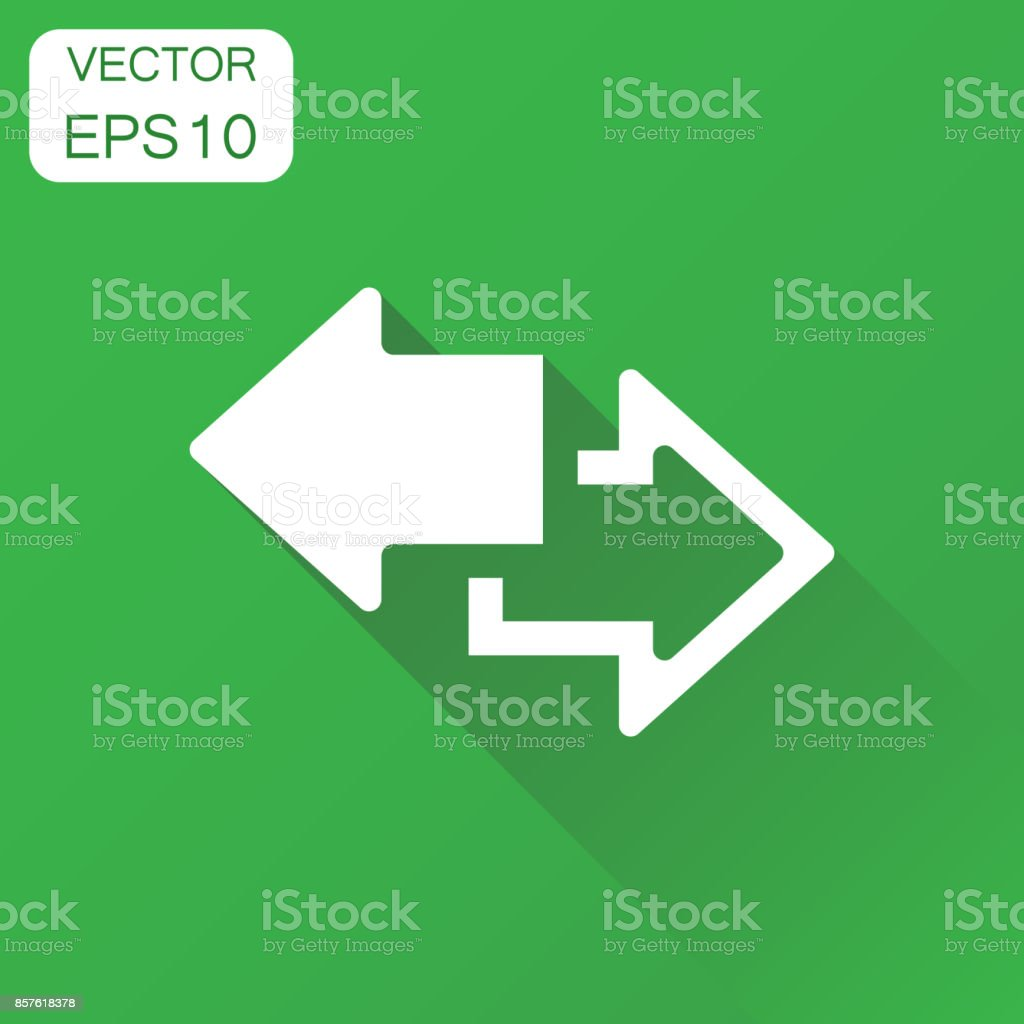 Arrow left and right icon. Business concept forward arrow pictogram. Vector illustration on green background with long shadow. vector art illustration