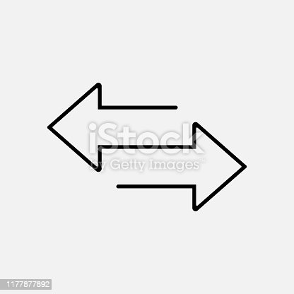 istock Arrow left and right line icon isolated on white background. Vector illustration. 1177877892