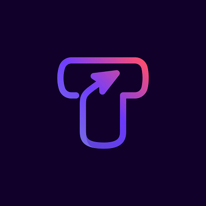 Arrow letter T multimedia and play line logotype.