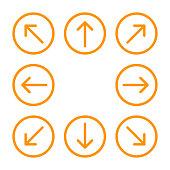 istock arrow line circle orange set for direction arrow pointer, arrows in circular strokes, arrows button simple, line arrow symbol in circle for ui app, circular arrowhead symbol for button interface 1264485101