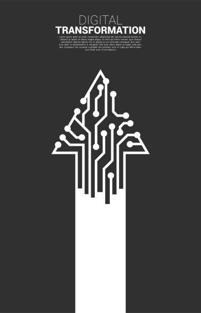 ilustrações de stock, clip art, desenhos animados e ícones de arrow line from dot connect line circuit. - reforma