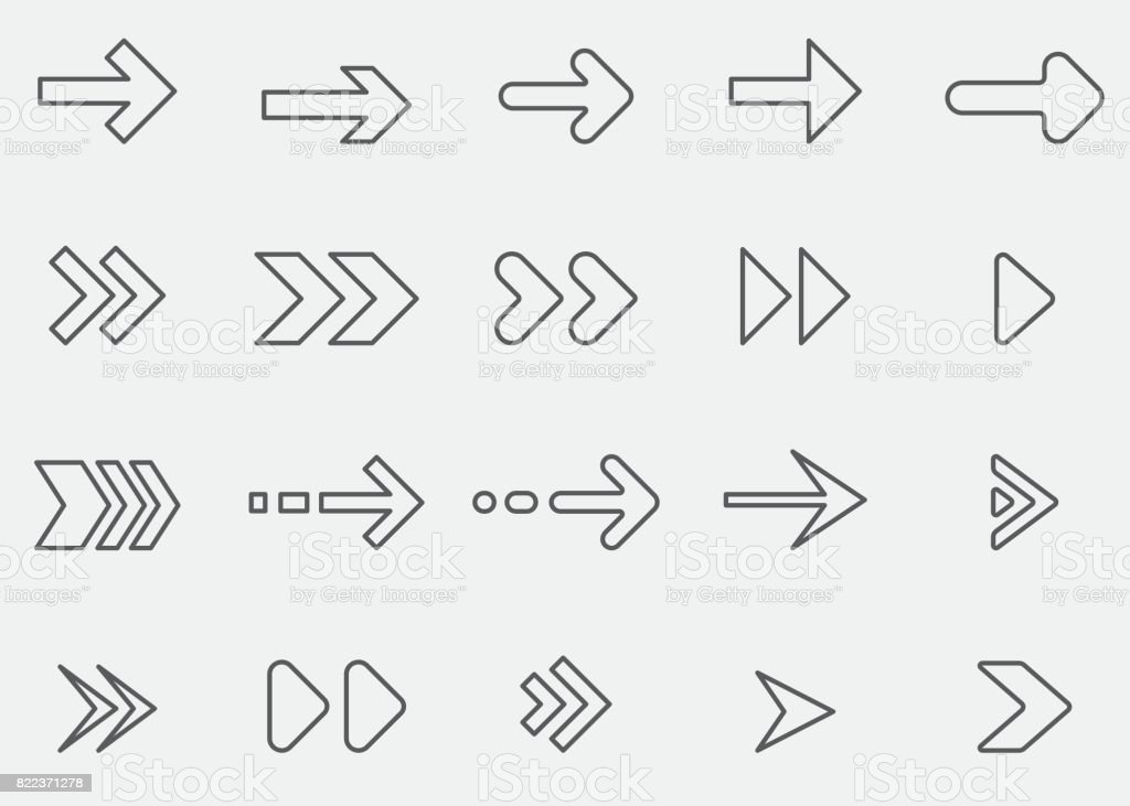 Arrow Line Icons 1 vector art illustration