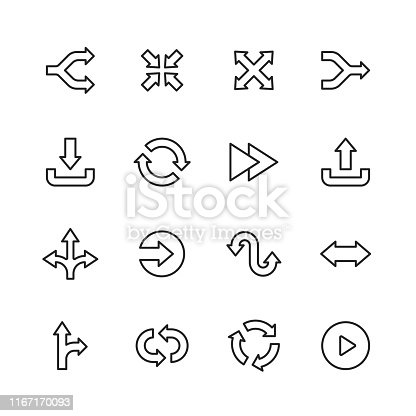 16 Arrow Outline Icons.