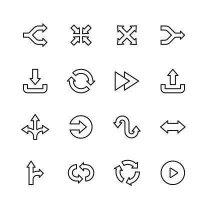 16 Arrow Outline Icons.