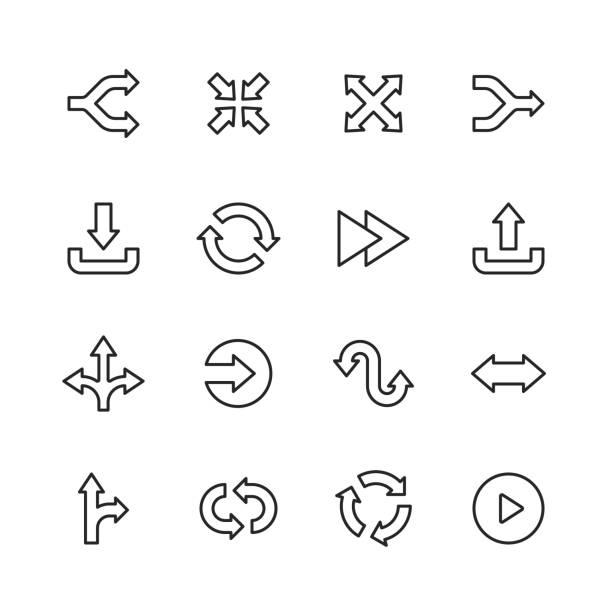 arrow line icons. editable stroke. pixel perfect. for mobile and web. contains such icons as direction, arrow. - przekręcać stock illustrations