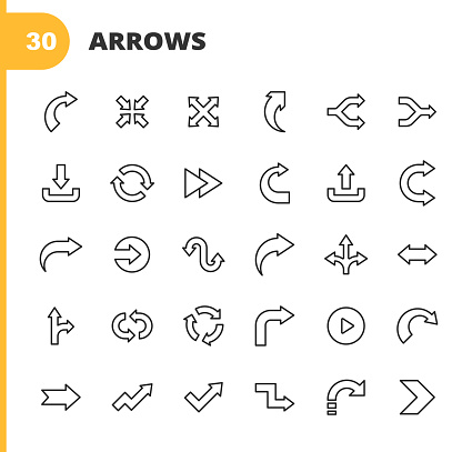 Arrow Line Icons. Editable Stroke. Pixel Perfect. For Mobile and Web. Contains such icons as Direction, Arrow, Traffic Sign, Downloading, Uploading, Play, Start, Navigation, User Interface Design, Flow Chart, Aiming, Speed.