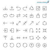 Arrow line icons. Editable stroke. Pixel perfect.