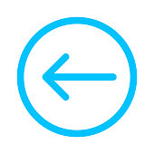 istock arrow line pointing left in circle blue isolated on white, arrow in circular strokes for direction left, arrows button simple graphic, line arrow symbol in circle for ui app, arrowhead pointer left 1254774361