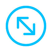 istock arrow line pointing left up and down in circle blue isolated on white, arrow in circular strokes for direction left up down, arrows button simple, arrow symbol circle for ui app, arrowhead pointer 1256626227