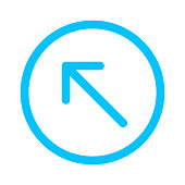 istock arrow line pointing left up in circle blue isolated on white, arrow in circular strokes for direction left up, arrows button simple, arrow symbol circle line for ui app, arrowhead pointer up 1254003160