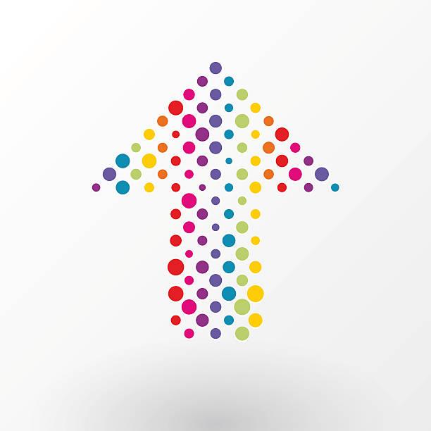 arrow made up of small colorful polka dots vector art illustration