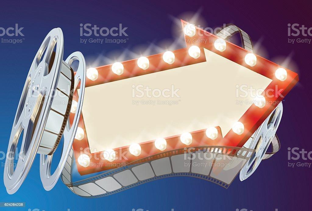 Arrow Movie Sign vector art illustration