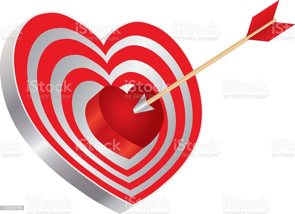 Arrow on Heart Shape Bullseye Vector Illustration royalty-free stock vector art