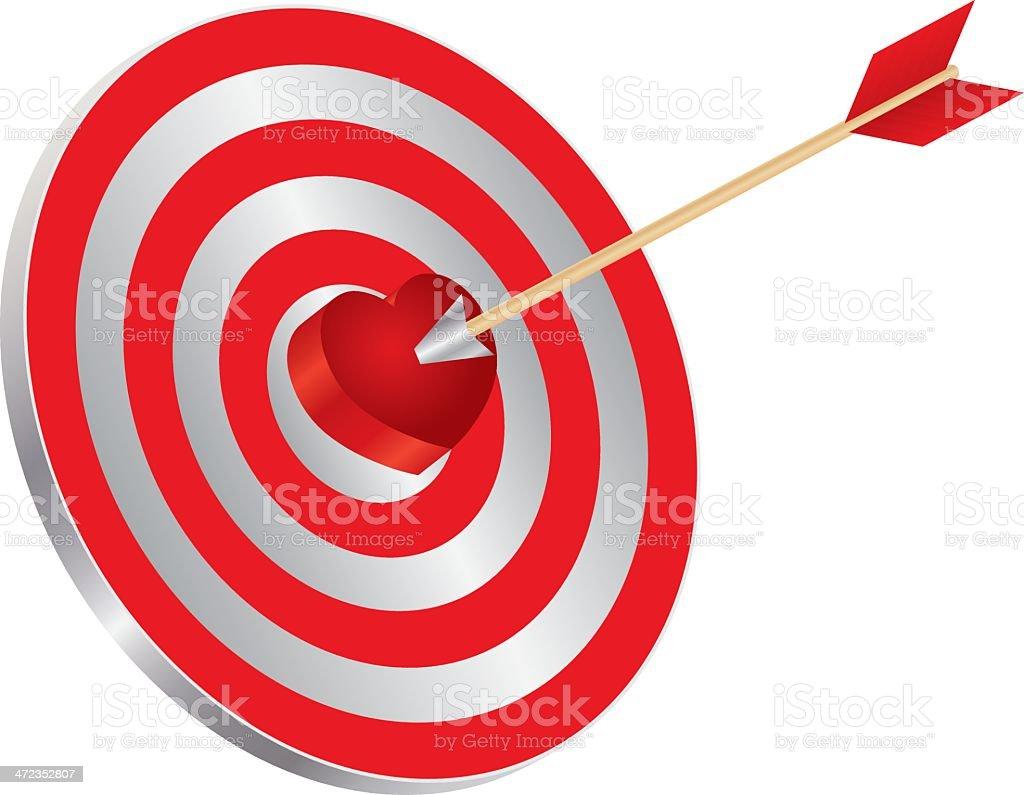 Arrow on Target Heart Bullseye Vector Illustration royalty-free stock vector art