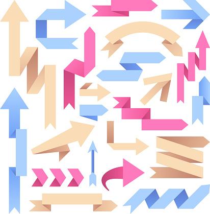 Arrow paper ribbons. Retro origami arrows. Color arrowheads infographic vector elements