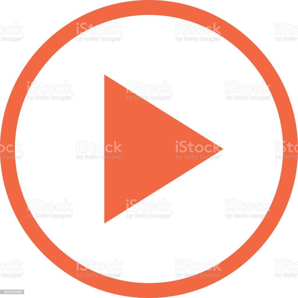 Icône de flèche lecture bouton cercle linéaire - Illustration vectorielle