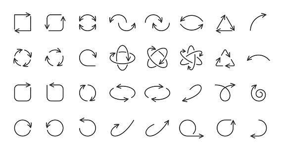 Arrow pointer simple black line icons vector set