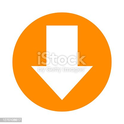 istock arrow pointing down white in circle orange for icon flat isolated on white, circle arrow for button interface app, arrow sign of next or download upload, arrow simple symbol for direction 1270108617