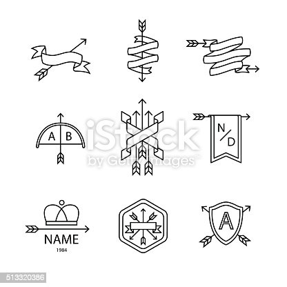 Arrow ribbon logo and emblem thin line art icons set. Modern black style symbols isolated on white for infographics or web use.