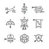 Arrow ribbon logo and emblem thin line art icons set. Modern black style symbols isolated on white for infographics or web use.