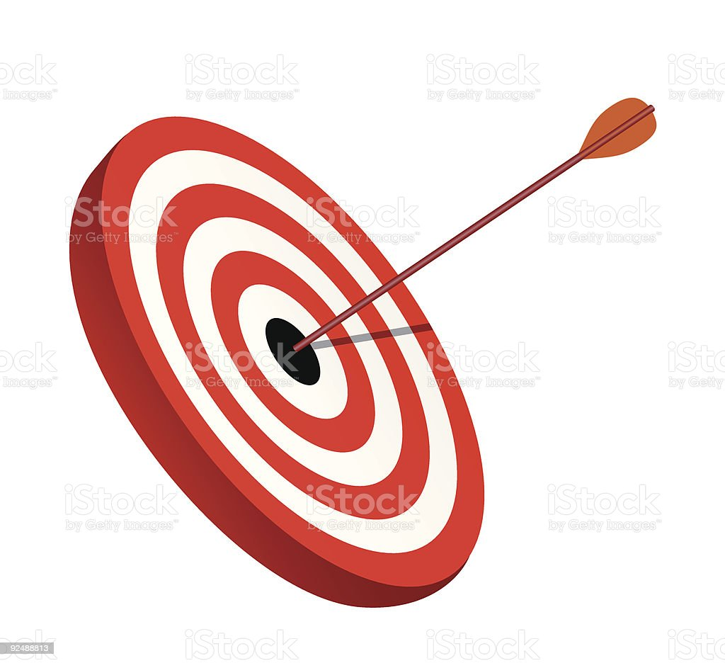 Arrow right on the target, symbol of winning royalty-free arrow right on the target symbol of winning stock vector art & more images of accuracy
