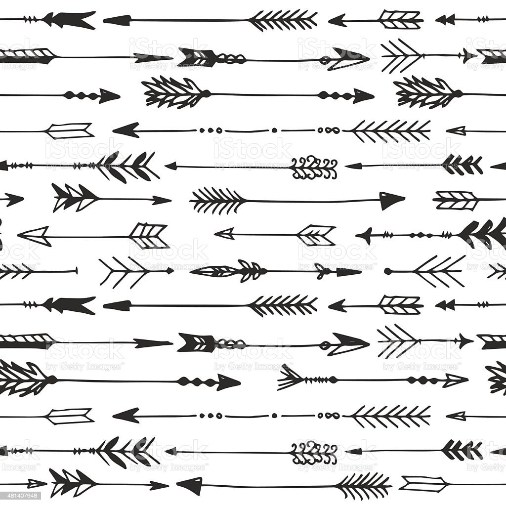 Arrow Rustic Seamless Pattern Hand Drawn Vintage Vector Royalty Free