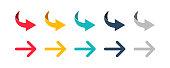 Arrow set icon. Colorful arrow symbols. Arrow isolated vector graphic elements. EPS 10