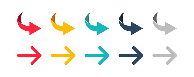Arrow set icon. Colorful arrow symbols. Arrow isolated vector graphic elements.