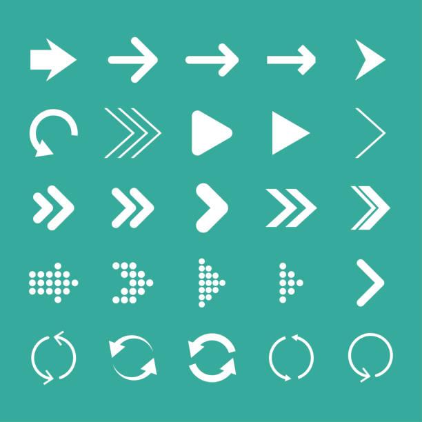 箭頭設置, 隔離, 向量插圖, 箭頭圖示 - 按鈕 幅插畫檔、美工圖案、卡通及圖標