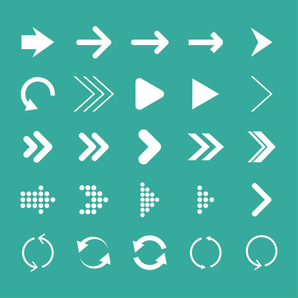 arrow set, isolated, vector illustration, arrow icon - arrows stock illustrations