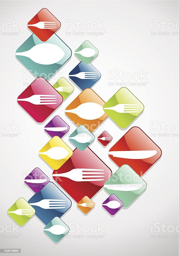 Arrow shaped Gourmet icosns royalty-free stock vector art