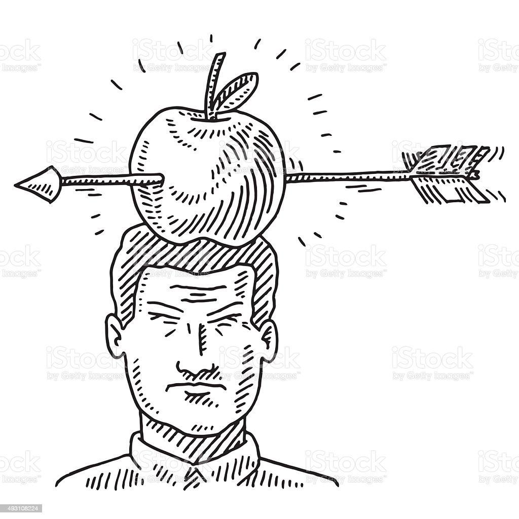 Arrow Shot At Apple On Man's Head Drawing vector art illustration