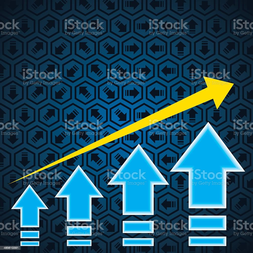 Arrow showing growth royalty-free stock vector art